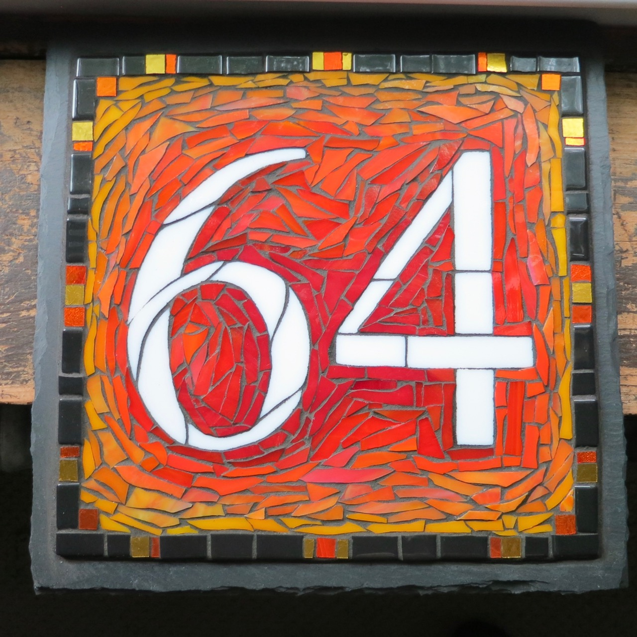 Square 12x12 inch 2 Digit Mosaic House Number on Slate