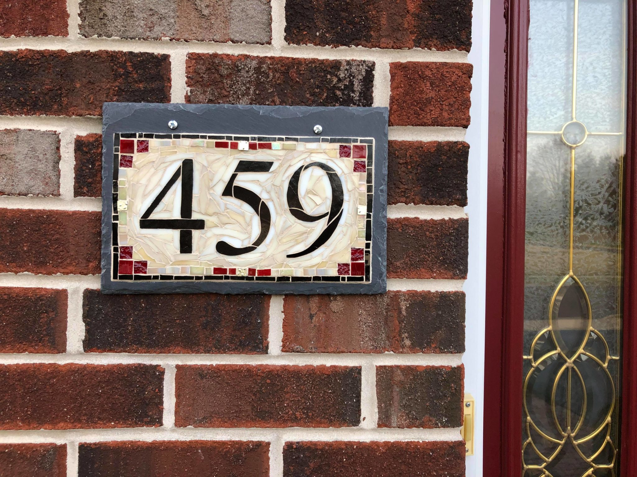 Horizontal 3 Digit Mosaic House Number on Slate