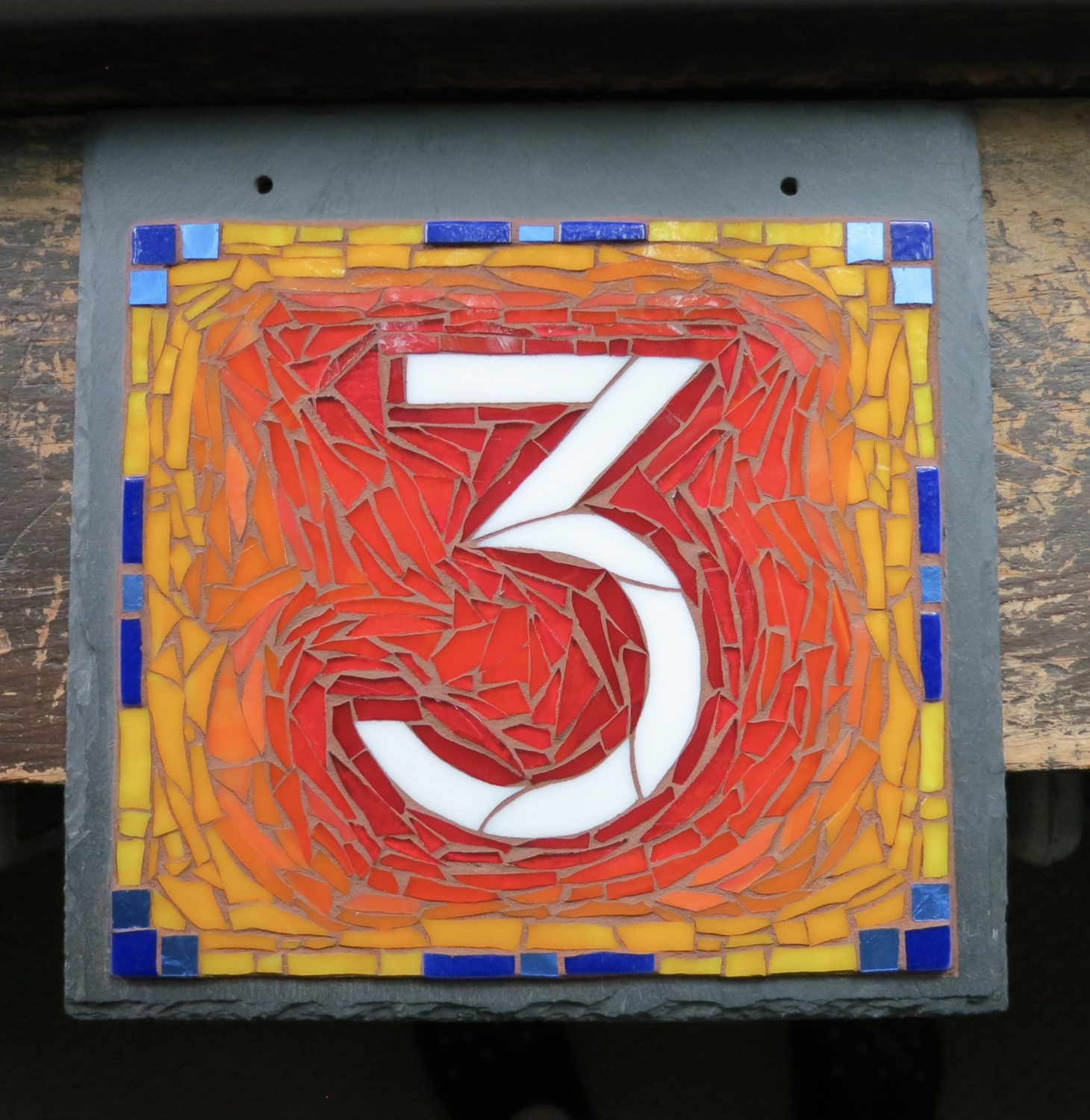 Square 1 Digit Modern Mosaic House Number on 10x10 Slate
