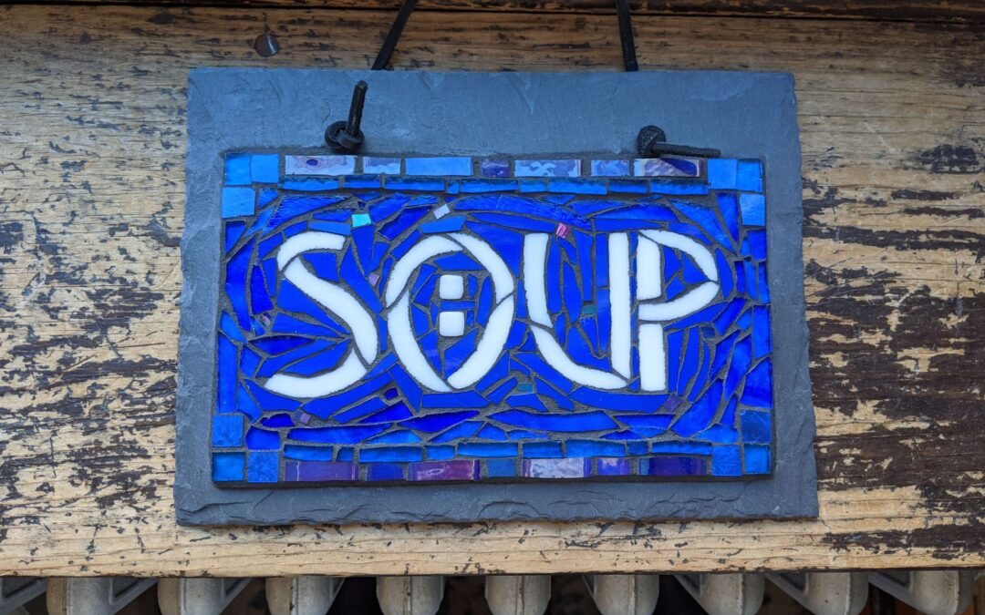Soup: Sign of Welcome in Blue and White