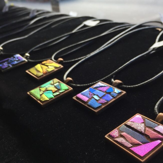 Mosaic Pendants by Margaret Almon now at Small Batch Kitchen Cafe and Market in Lansdale, PA