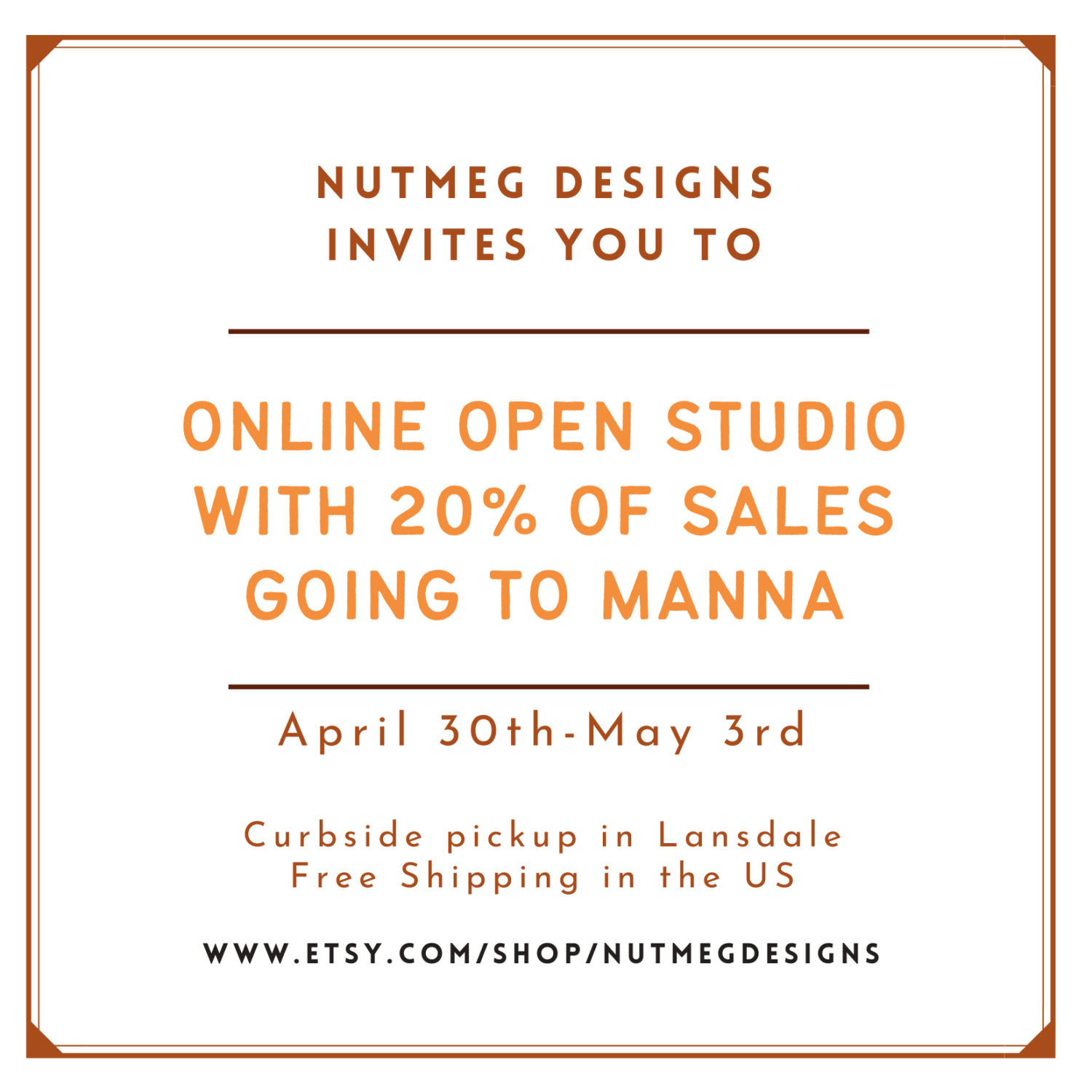 Online Open Studio and Fundraiser for Manna on Main Street Food Bank